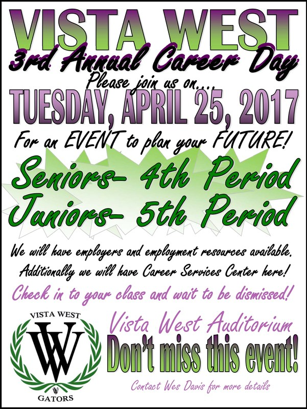 Vista West Career Day - Tuesday, April 25, 2017 Thumbnail Image