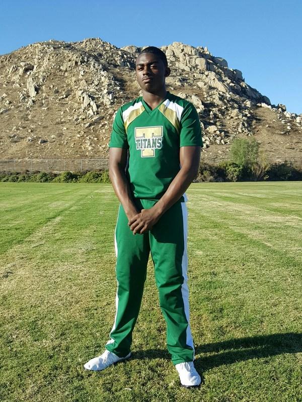 CJ Hawkins on the Tahquitz football field.