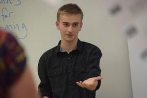 student talking