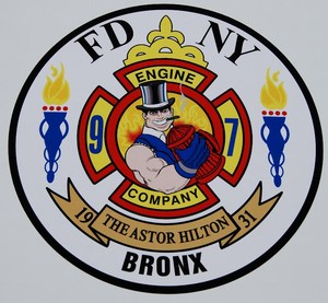 Logo of our local Fire Company Engine Company 97- The Astor Hilton