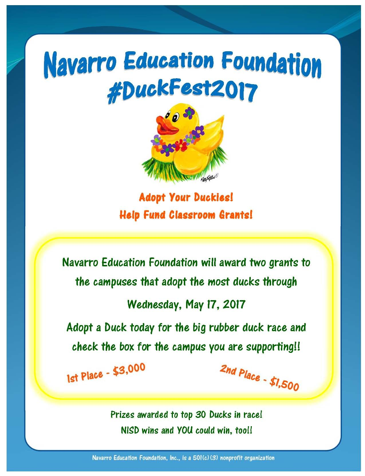 Picture of poster for principal award.  Adopt a duck and help your campus win money for grants