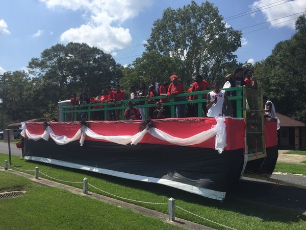 Another photo of the Baker School System homecoming float in black and red school colors