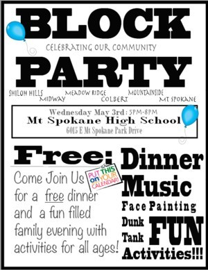 May 3rd BLOCK PARTY at Mt. Spokane High School Featured Photo