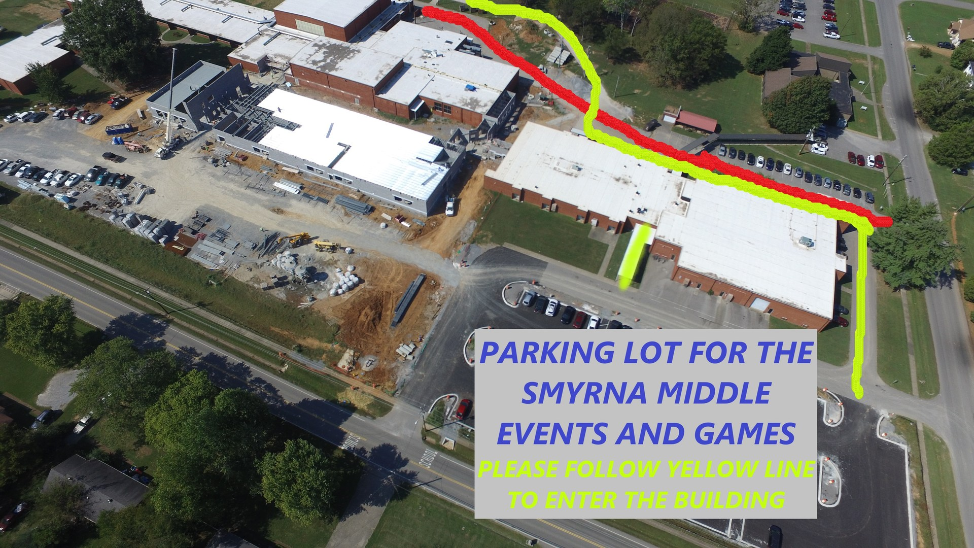 One Parking lot for Smyrna Middle School Events is out front of the SMS Annex. The secondary parking lot is at Smyrna Primary and the third parking lot is Thurman Francis.
