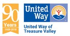 United Way of Treasure Valley Logo of a hand with a rainbow over it and stick figure person under the rainbow.