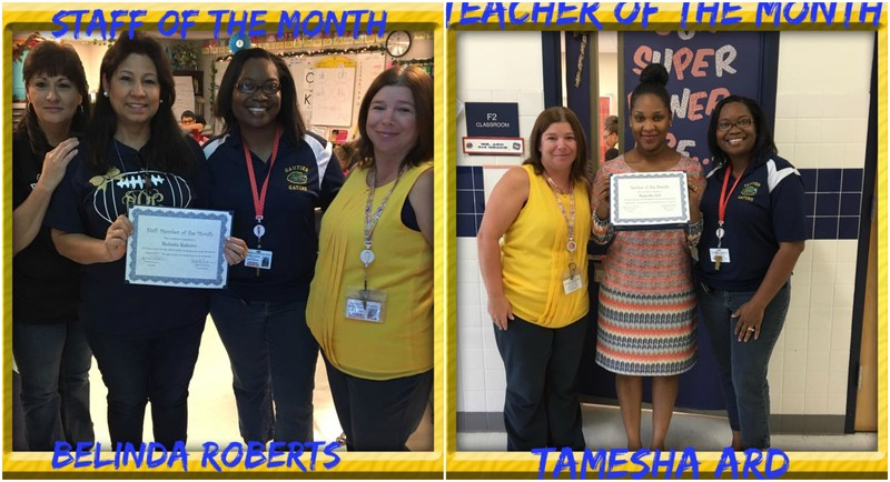 Ms. Roberts (Staff Member of the Month) and Ms. Ard (Teacher of the Month) pictured with Ms. Coleman and Ms. Anderson