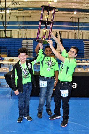 Pictured are the 1st Place Platinum Robo-Rangers: Andres Osornio (Captain), Michael Vasquez, and Abraham Hernandez.