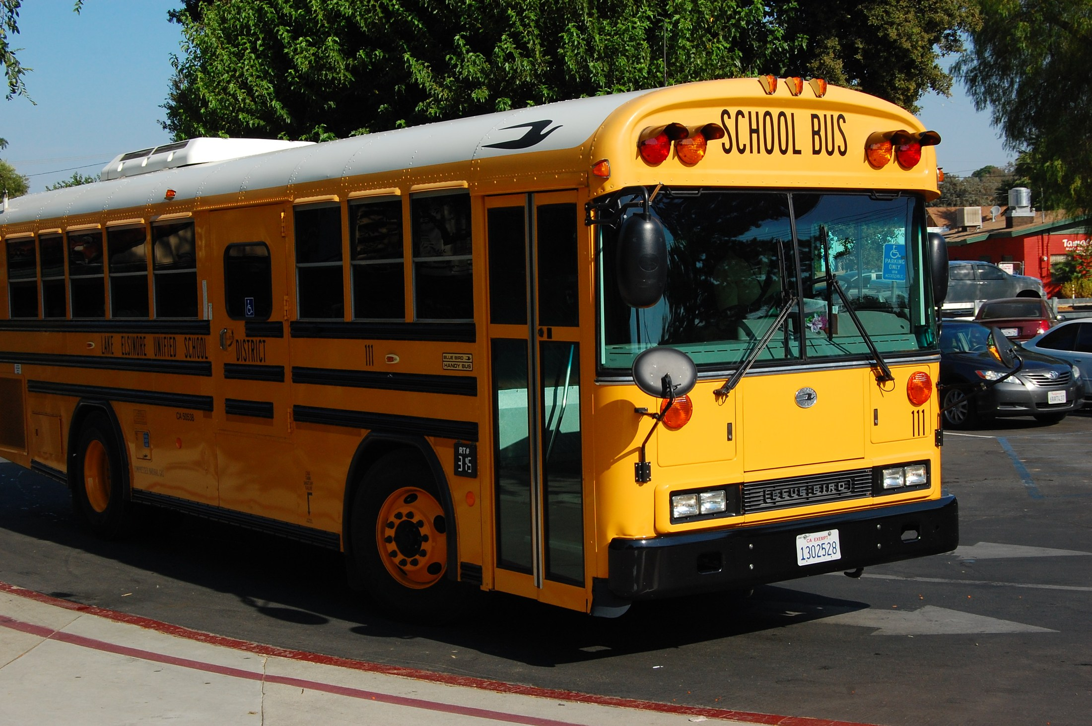 A school bus with caption - safety is our number one priority.