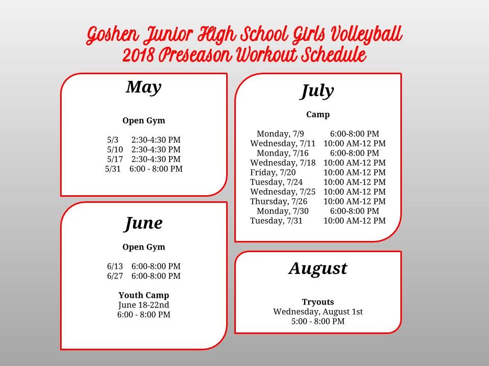 Volley Summer Schedule