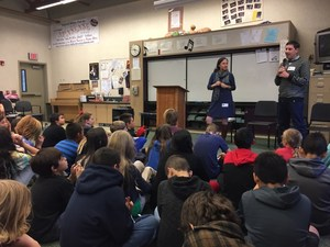 Idyllwild's middle school students listening to Kristen Paige Madonia and Eliot Treichel's writing process.