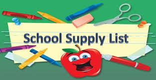 Clip art of school supply list with apple and pencils
