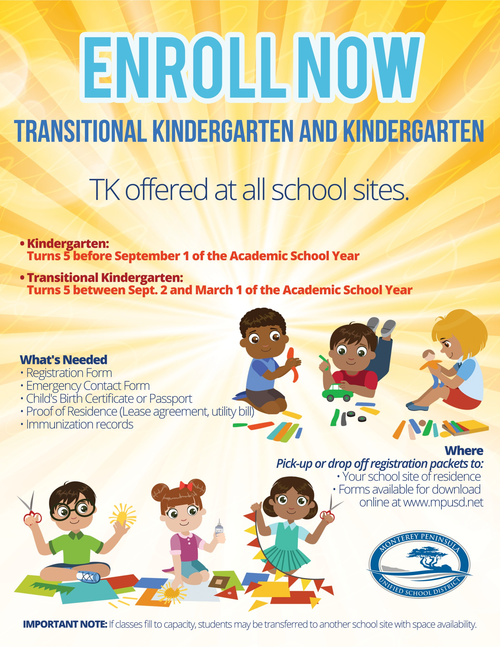 Informational TK and Kindergarten Flyer English.