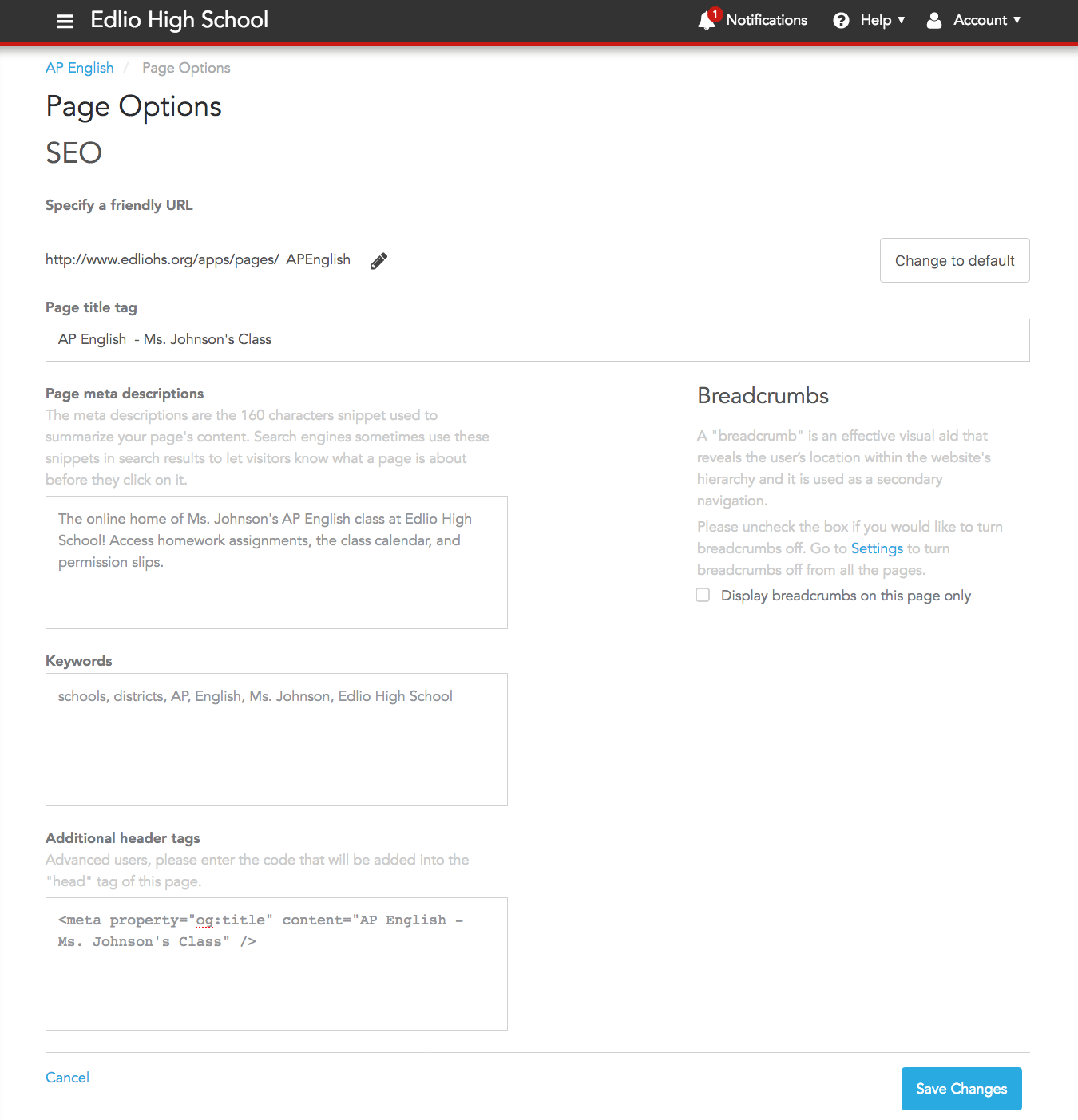 Page Options has many advanced features for the page