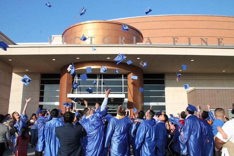 2018 liberty academy graduates hat toss