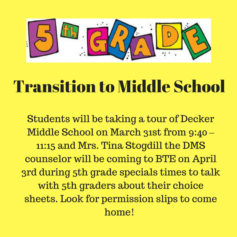 BTE Fifth Graders to Tour Decker Middle School on March 31st Thumbnail Image