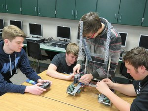 TKHS students work on their robot for the VEX competitions.