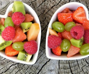 Heart-shaped Bowls of Mixed Fruit
