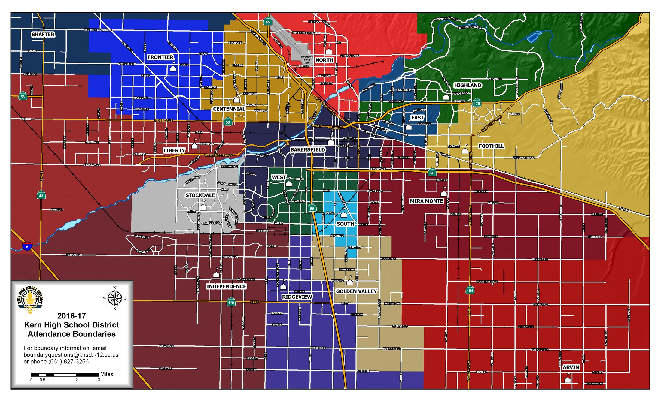 School Boundaries - Instruction Division - Kern High School District