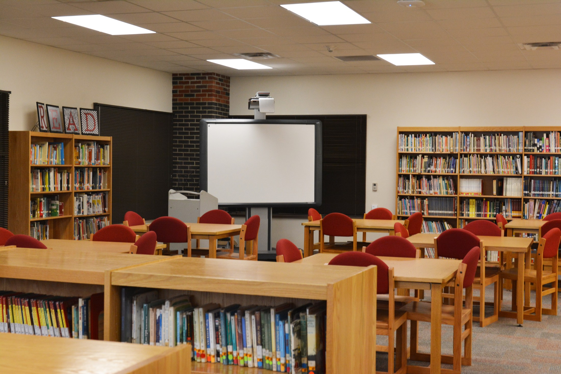 Middle School library with Promethean board.