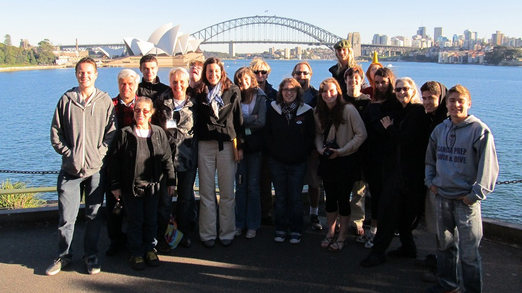 Group of Sandia Prep travelers in front of the Sydney Opera House