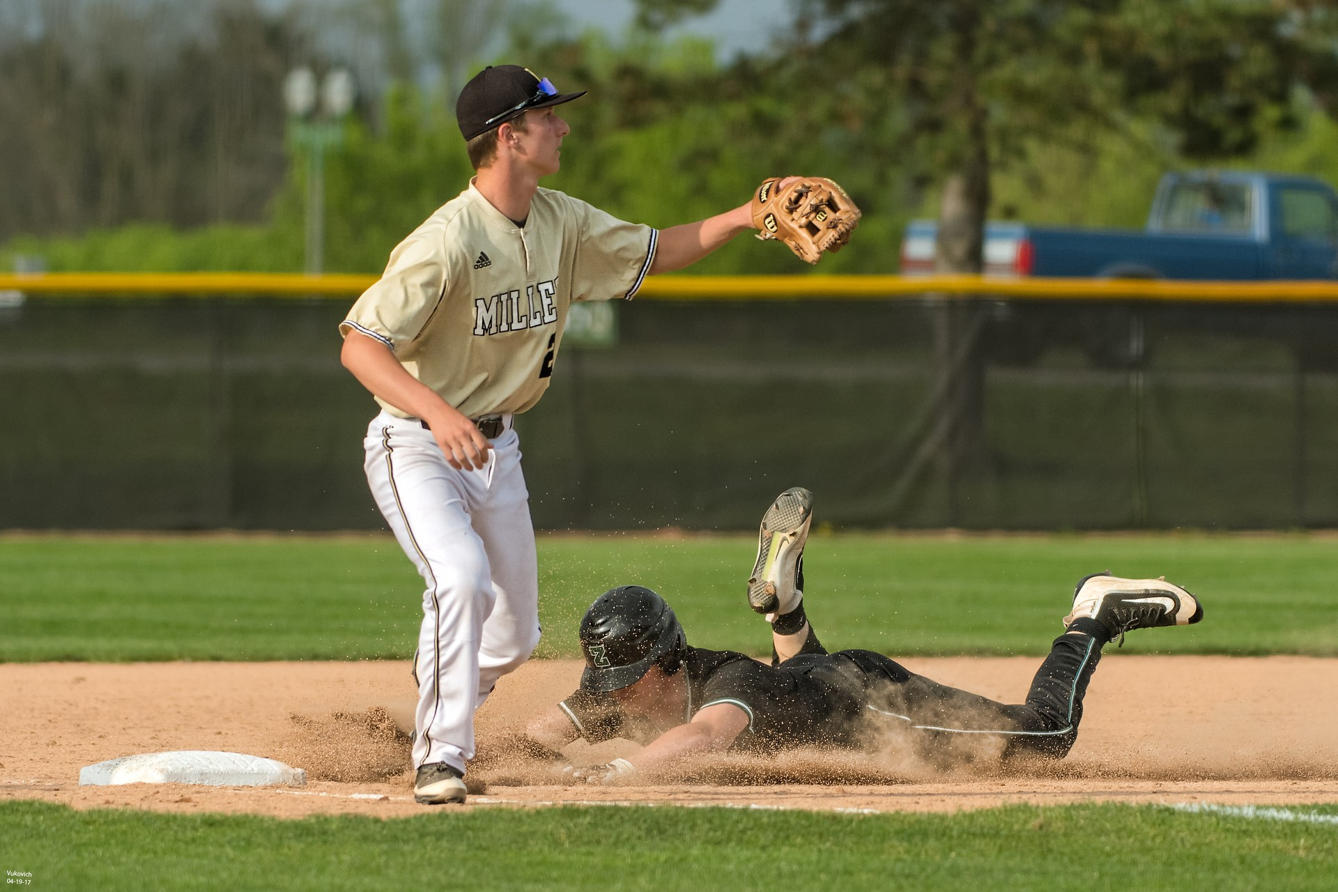 Junior Tyler Milby action photo