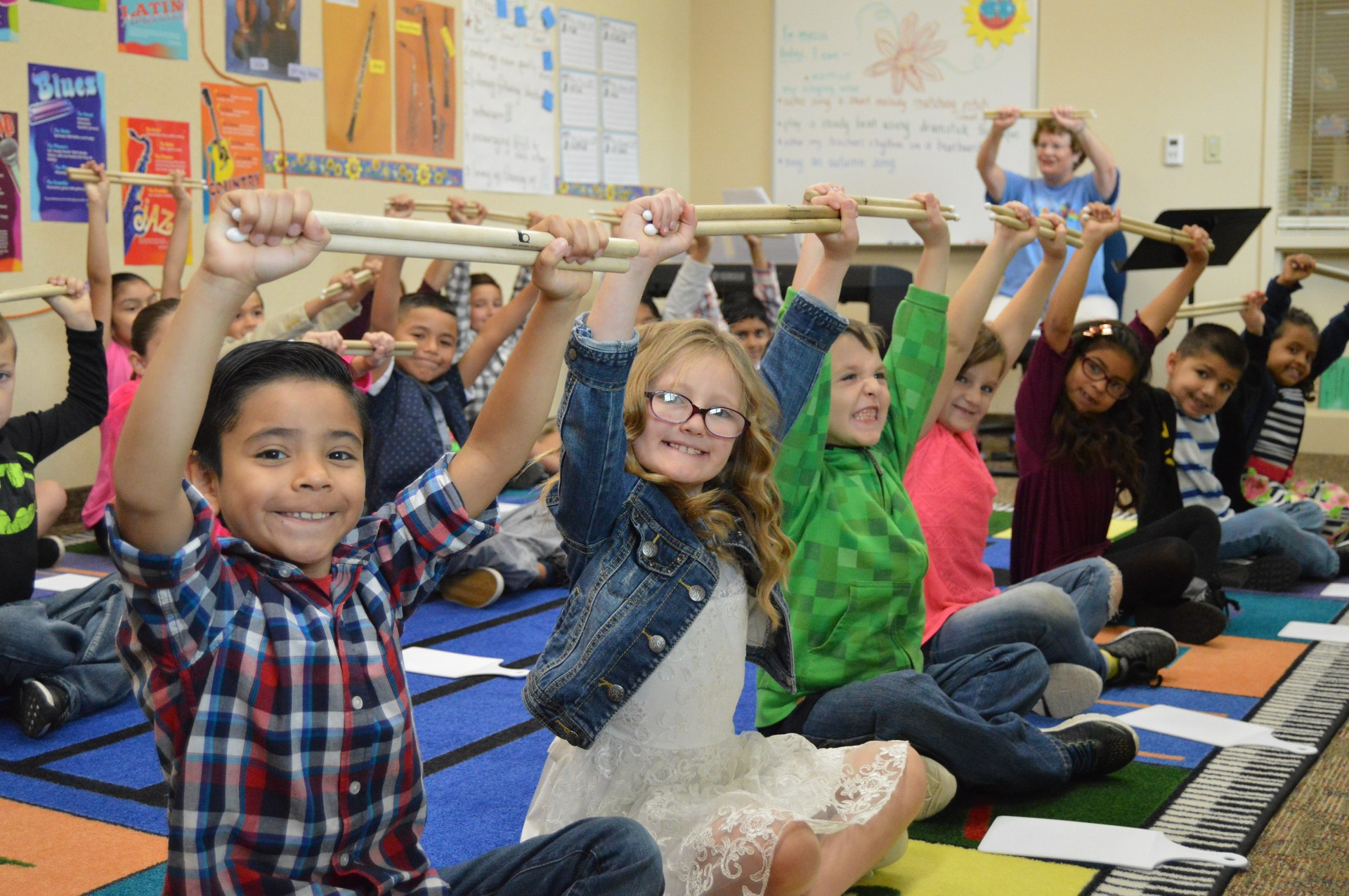 2nd grade students in a music class at THE