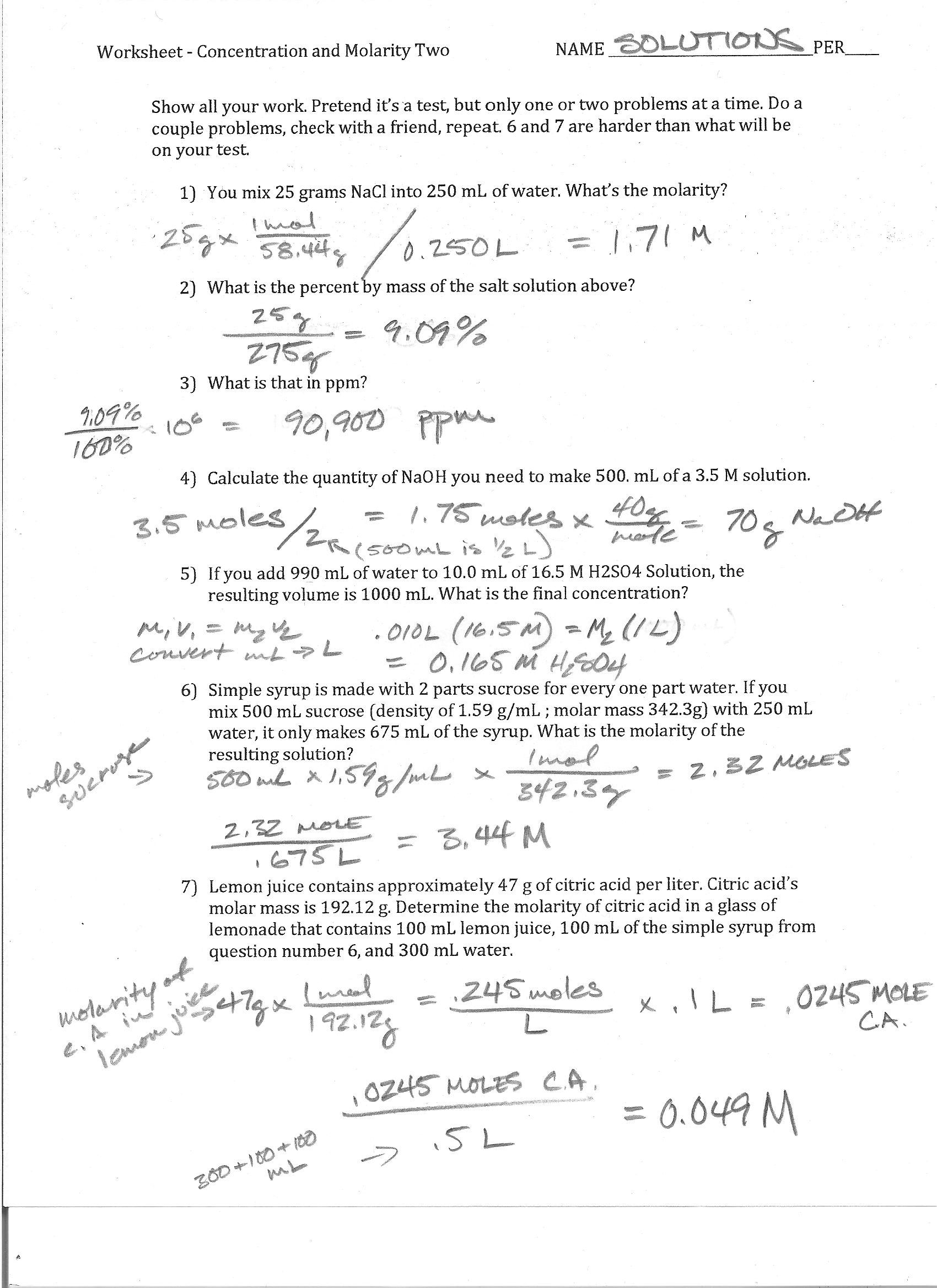 Foothill High School – Molarity Calculations Worksheet