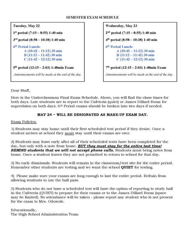 Final Underclassmen Exam Schedule Thumbnail Image