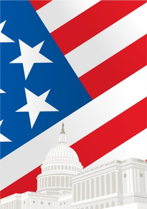 Flag - US capitol image signifies Federal Holiday: Labor Day is September 4, 2017