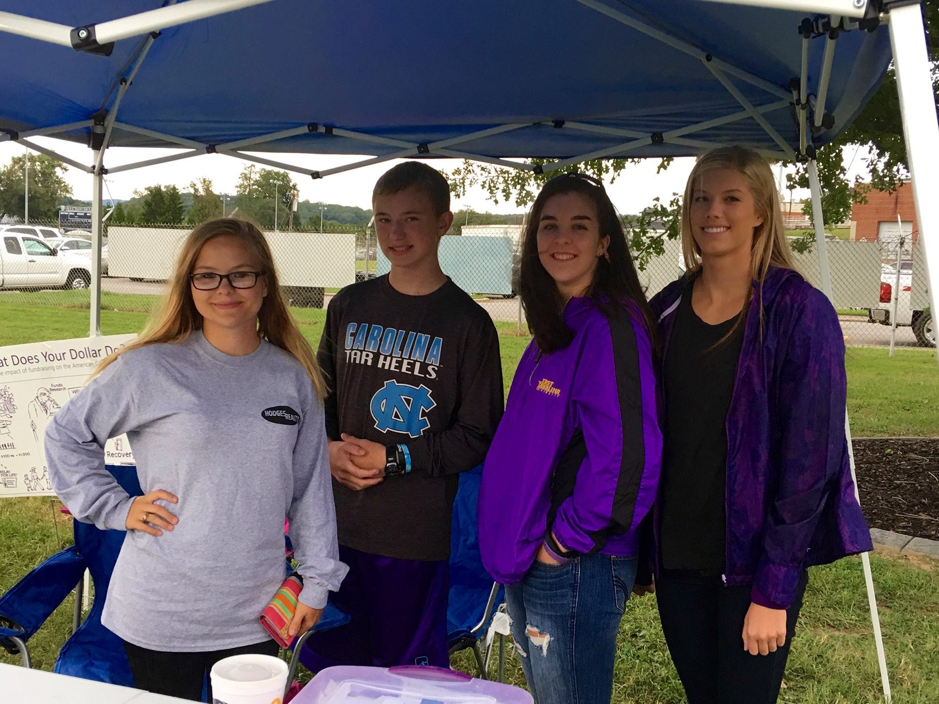 HOSA students running a Relay for Life tent