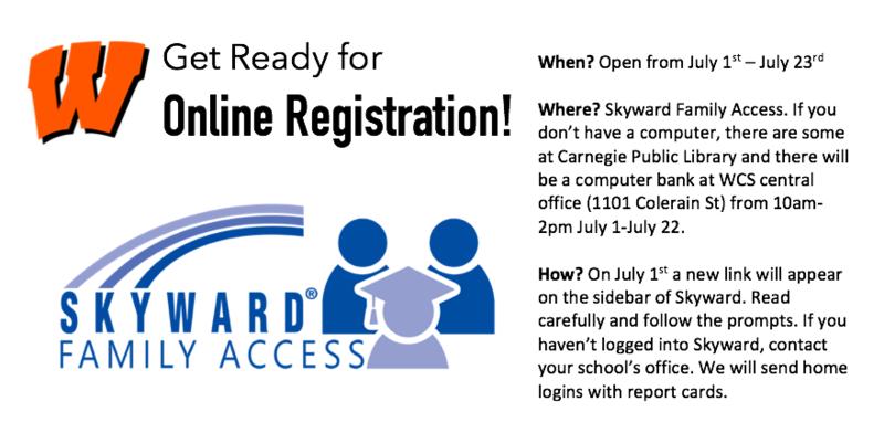 Online registration information.