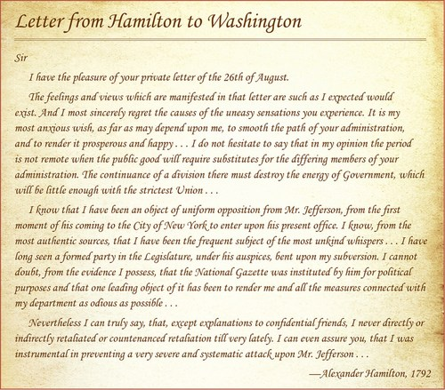 Hamilton to Washington