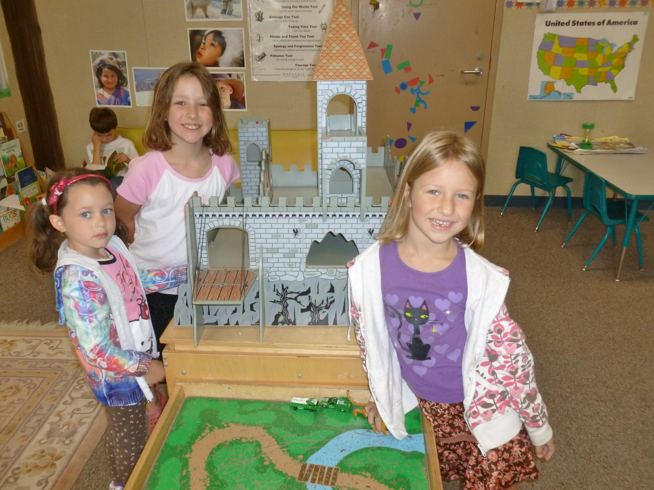 Students making a castle