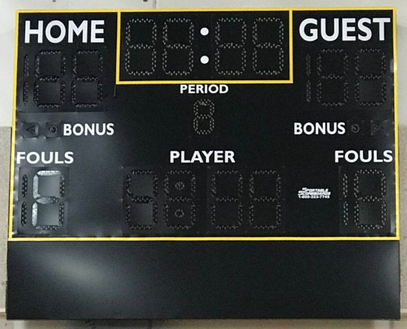 Image of new gymnasium scoreboard