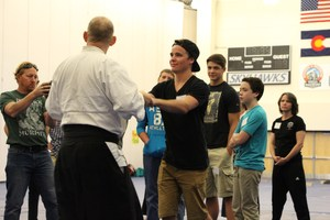 Students in an aikido workshop at Keys to High School Success.