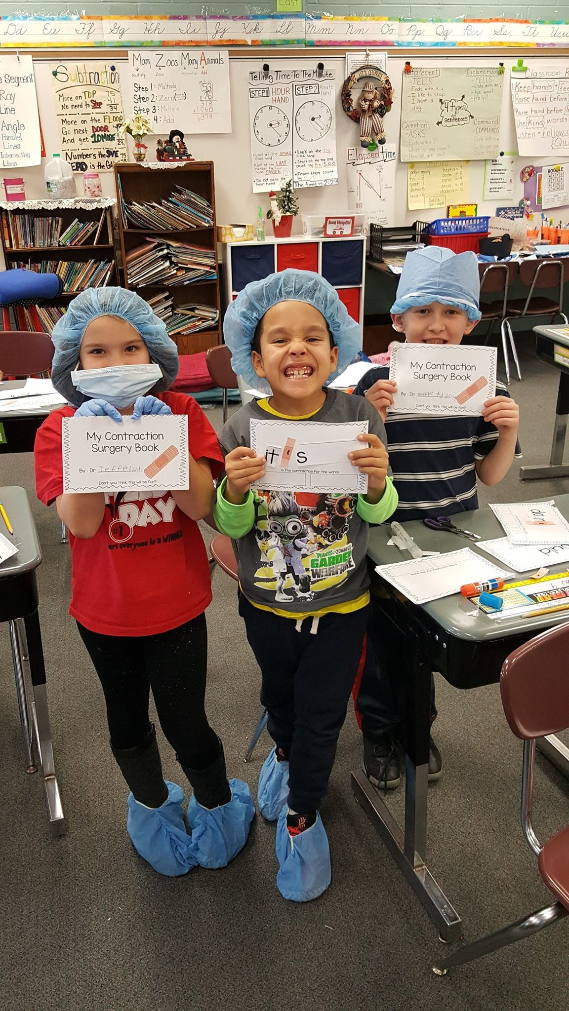 Students learning Contractions