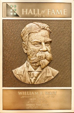 Close up of the Bronze plaque of William Bell Wait