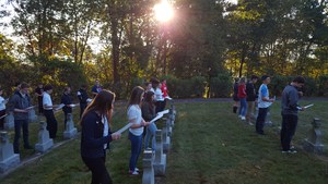 OLSH students pray the rosary together at the Felician Sisters' Cemetery.