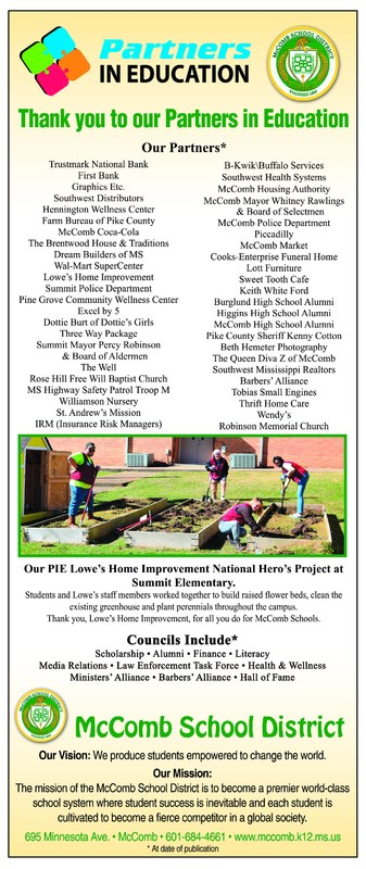 Perspective Ad thanking the McComb School District Partners in Education.