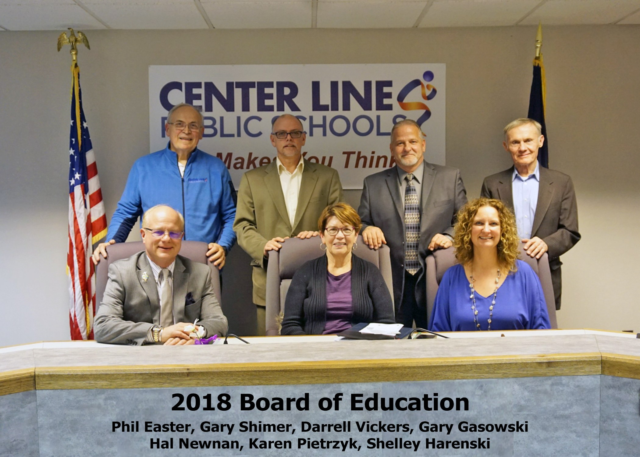 2018 Board of Education    Phil Easter, Gary Shimer, Darrell Vickers, Gary Gasowski Hal Newnan, Karen Pietrzyk, Shelley Harenski