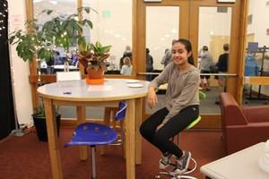 A student shows how furniture impacts learning.