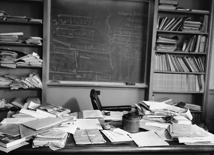Messy Desk = Busy Mind (Einstein's Desk on Day of Passing)
