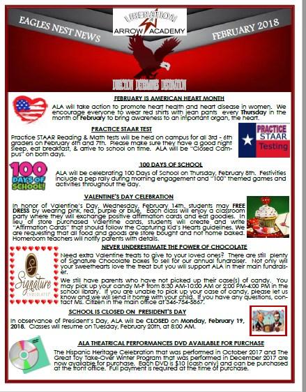 ALA Eagles Nest Newsletter February 2018 Featured Photo