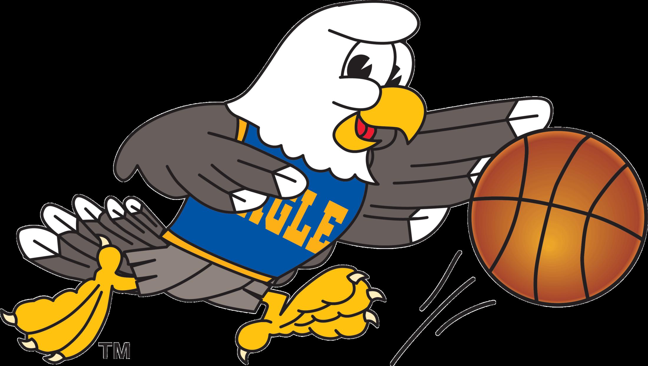 Eagle playing basketball