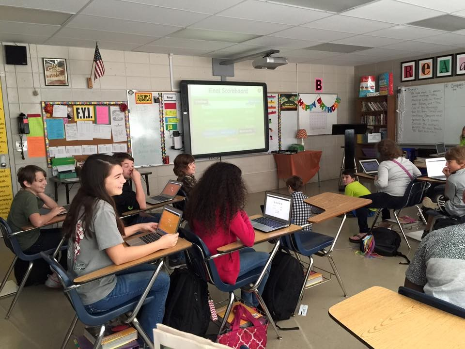 Students Using MacBooks in Class to Learn