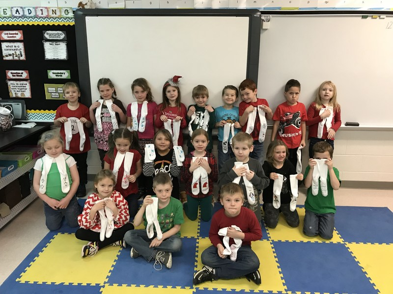 First Graders Decorated Socks for Seniors