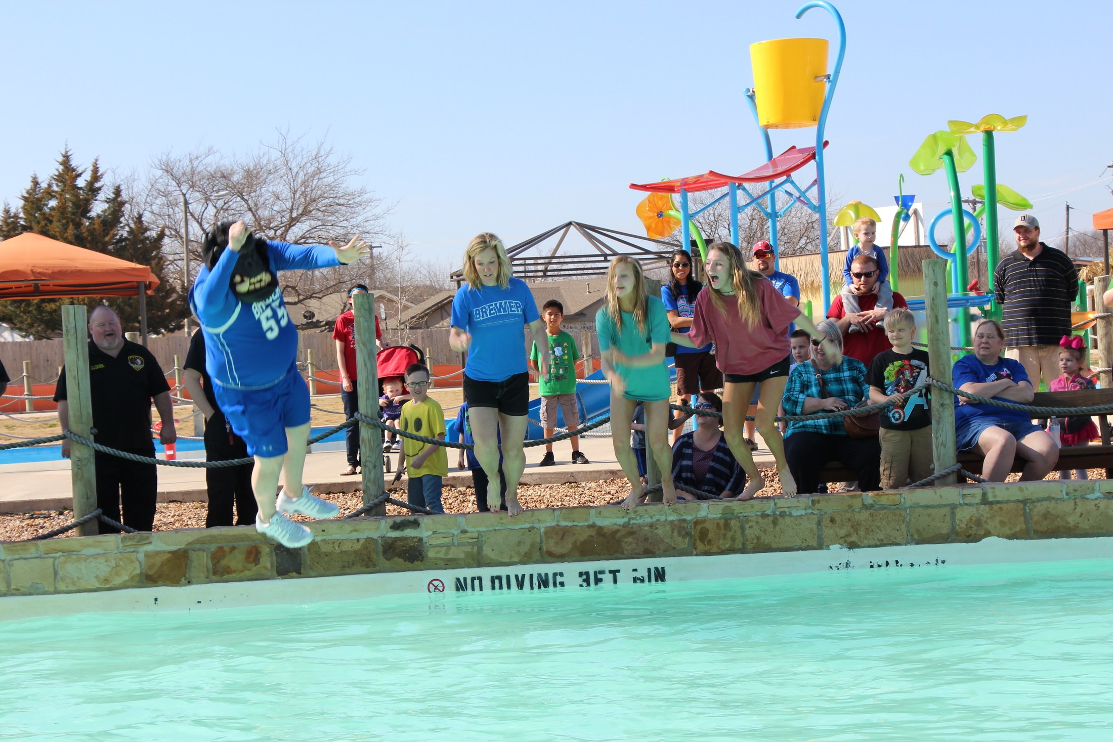 Brewer Middle School raises most money in BRRRewer Bear Plunge.