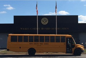 New Bus outside of Board of Education