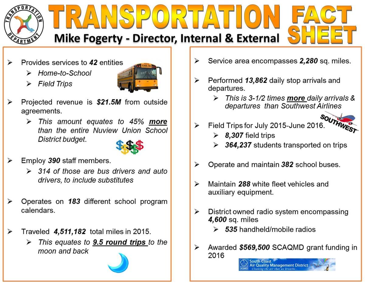 Transportation Department's fact sheet