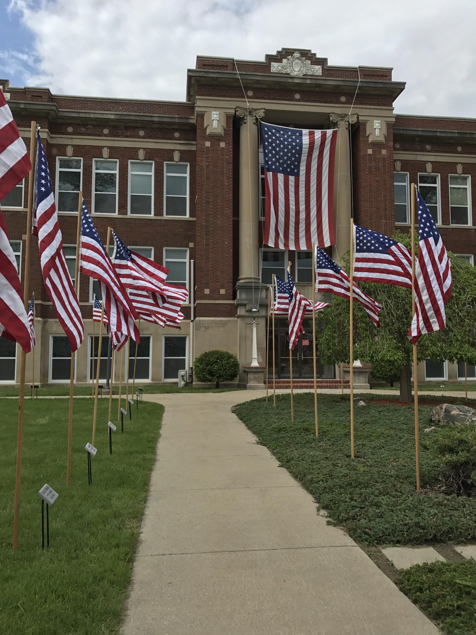 Courthouse and flags.